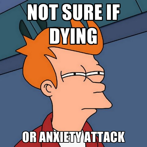 not sure if dying or anxiety attack anxiety memes and funny pictures,Anxiety Meme